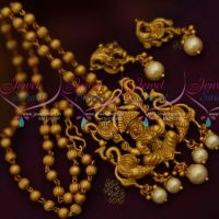 Nagas Temple Pendant Beads Chain Matte Gold Pearl Drops South Indian Jewellery Set Online