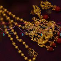 Nagas Temple Pendant Beads Chain Matte Gold Coral Drops South Indian Jewellery Set Online
