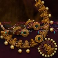 Temple Necklace South Indian Traditional Jewellery Matte Dull Gold Finish Pearl Danglers Design Collections