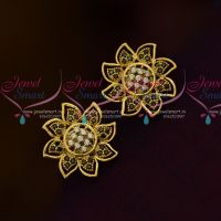 Floral Design Black White Ear Studs AD Jewellery Collections Online