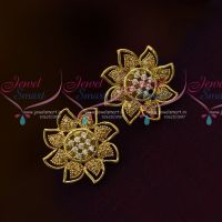 Latest Design Golden White Ear Studs AD Fashion Jewellery Collections Online
