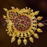 Matte Gold Ruby Semi Precious Traditional Design Gold Plated Choti Single Piece