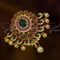 Broad Design Pearl Drops AD Multi Colour Choti Jada Pin Gold Plated Online