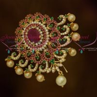 Broad Design Pearl Drops AD Ruby Green Choti Jada Pin Gold Plated Online