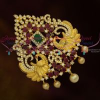 High Quality AD Semi Precious Stones Traditional Jada Billa Gold Plated