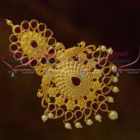 Big Size Matte Gold Plated Jada Billa Accessory Ruby Stones Bridal Collections