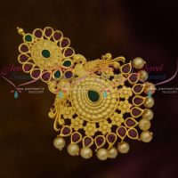 Ruby Emerald Stones Big Size Matte Gold Plated Jada Billa Accessory Bridal Collections
