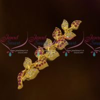 Leaf Design American Diamond Matching Jewellery Saree Brooches Leaf Design