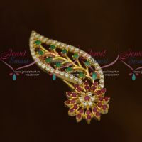 Ruby Emerald AD Stones Fashion Matching Jewellery Saree Brooches Accessory