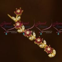 Flower Model Leaf Model Ruby White Saree Pins AD Stones Imitation Accessory Jewellery Online