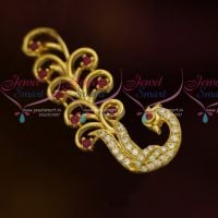 Ruby White Peacock Design AD Stones Fashion Jewellery Saree Pins Collection Online