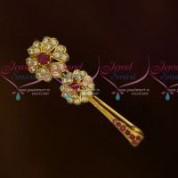 Simple Design Ruby White AD Stones Fancy Saree Pin Collections Shop Online