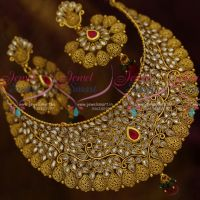 Broad Antique Polki Glass Stones Choker Necklace Bridal Jewellery Collections Online