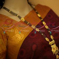 Black Beads Mala 3 Line Mangalsutra Haram Forming Gold Plated Pendant Imitation Jewellery Designs