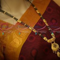 Black Beads Mala 3 Line Mangalsutra Haram Forming Gold Plated Meenakari Colour