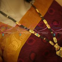 Chain Fancy Drops Pendant Forming Gold Plated Nalla Pusalu Mala Haram Designs
