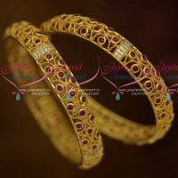 AD Ruby Stones 2 Pcs Set Bangles Fancy Design Jewellery Collections online