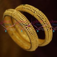 Broad 2 Pcs Set Leaf Design Forming Gold Design Handmade Bangle Shop Online