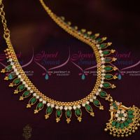 Emerald Marquise Stones Flexible South Indian Handmade Gold Finish Jewellery Set Shop Online