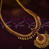 Kerala Style South Indian Imitation Jewellery Ruby Stones Handmade Design