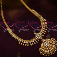 Kerala Style South Indian Imitation Jewellery AD White Stones Handmade Design