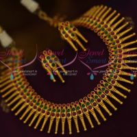 Kerala Style Design Ruby Emerald Matte Dull Gold Plated Fancy Jewellery Set Online
