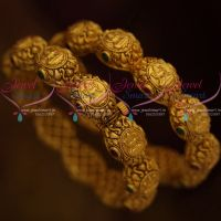 Screw Open Broad Heavy Antique Matte Gold Plated Temple Nakshi Bangles Shop Online