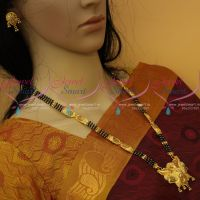 Nalla Pusalu Haram 3 Line 23 Inches One Gram Gold Traditional Jewellery Designs Online