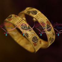 Broad 2 Pcs Set Screw Open Flat Bangles 100Mg Forming Gold Jewellery Collections Online