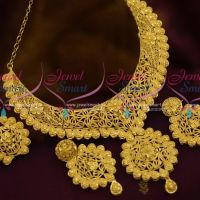 Broad Rich Matte Gold Look Floral Design One Gram Jewellery Collections Online