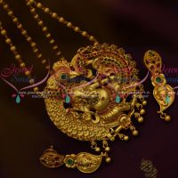 Matte Gold Plated Lord Ganesh Ganapathy Nagas Jewellery Pendant Set Online