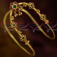 AD Ruby Emerald Floral Gold Design Vanki South Indian Bridal Jewellery Online