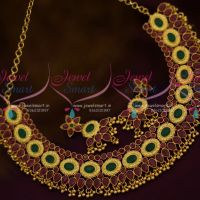 Ruby Emerald Casting Design Broad Necklace Traditional Design Jewellery Online