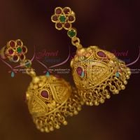 AD Ruby Emerald Handmade One Gram Gold Jhumka Earrings Handmade Jewellery Online