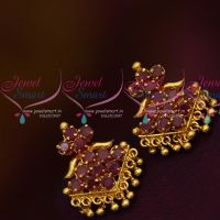 Daily Wear Ruby AD Stones Screwback Traditional Design Earrings Gold Plated