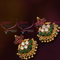 Daily Wear Multi Colour AD Stones Screwback Traditional Design Earrings Gold Plated