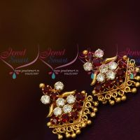 Daily Wear Maroon AD Stones Screwback Traditional Design Earrings Gold Plated