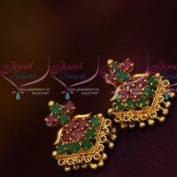 Daily Wear Ruby Emerald Stones Screwback Traditional Design Earrings Gold Plated