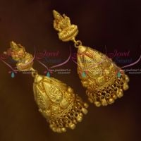 One Gram Finish Temple Nakshi Long Jhumka Screwback Designs South Indian Jewellery Online