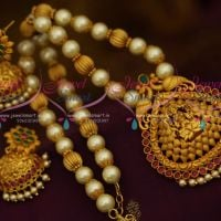 Multi Colour Pearl Temple Jewellery Matte Antique Beaded Nagas Broad Jhumka Collections Online