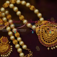Red Colour Pearl Temple Jewellery Matte Antique Beaded Nagas Broad Jhumka Collections Online