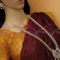 Silver Look Two Tone Plated Latest Imitation Haram AD Fashion Jewellery Collections Online