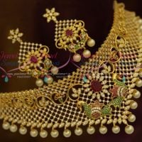 AD Multi Colour Jewellery Peacock Choker Diamond Design Ornaments Imitation Online