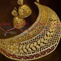 Broad Exclusive Gold Design American Diamond Choker Bridal Jewellery Collections Online