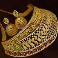 Bridal Imitation Jewellery One Gram Gold Plated Ornaments Broad Choker Semi Precious Stones Collections Online