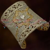 Long Broad American Diamond White Gold Silver Plated Bridal Kada Collections Shop Online