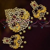 Big Size Peacock Design Matte Gold Finish Pendant Set Fashion Jewellery Online