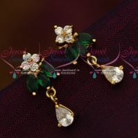 AD Green White Screwback Lock South Indian Ear Studs Shop Online