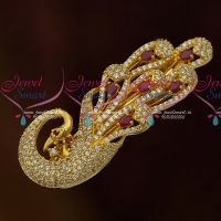 AD Stylish Jewellery Peacock One Side Hair Clip Ruby White Stones Online