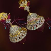 Silver Finish AD Light Weight Fancy Jhumka Earrings Shop Online Fashion Jewelry